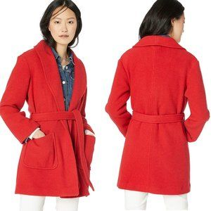 J. Crew Mercantile Red Belted Wrap Wool Coat - M